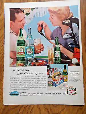 1956 Canada Dry Ad at the 19th Hole Couple Golfing Theme