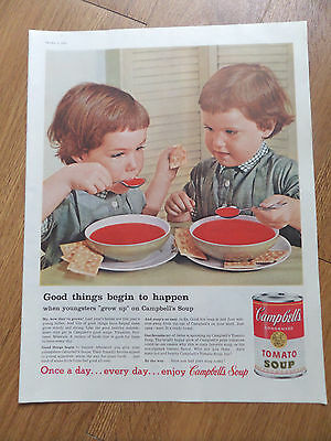 1959 Campbell's Soup Ad  Twin Red Hair Little Girls