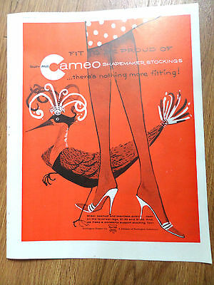 1960 Bur-Mil Cameo Stockings Ad Shapemaker Stockings