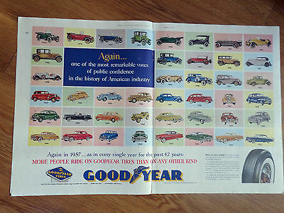 1957 Goodyear Tire Ad  1915 - 1956 Ford Mercury Chevrolet Dodge Plymouth