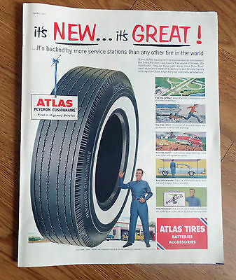1957 Atlas Tire Ad Backed by More Service Stations than any other Tire in World