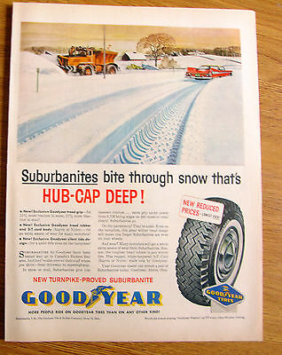 1959 Goodyear Tire Ad Snowplow & Plymouth Fury