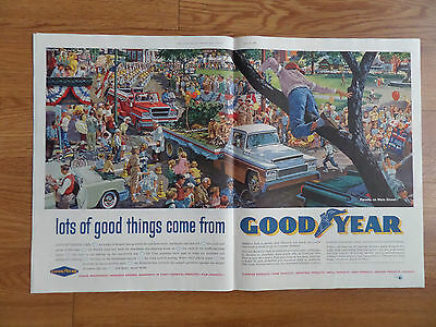 1960 Goodyear Tire Ad Parade on Main Street Artwork by Ted Glavis