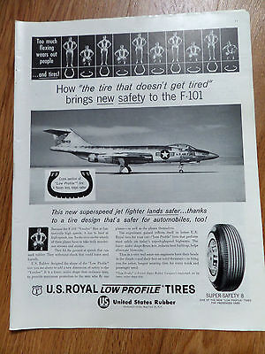 1960 U S Royal Tires Ad  The Superspeed Jet Fighter F-101