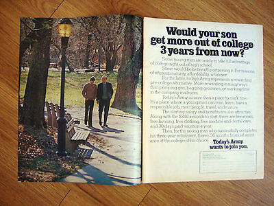 1972 Army Recruiting Ad Sould Your Son Get More out of College 3 Yrs from Now?