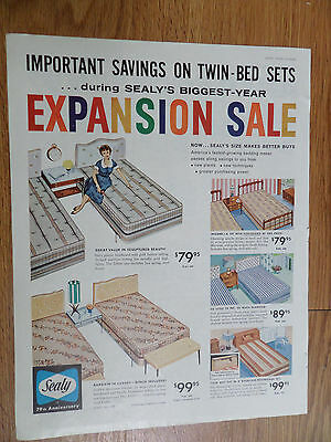 1960 Sealy Twin-Bed Sets Mattress Expansion Sale Ad