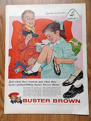 1958 Buster Brown Shoes Ad Children Opening Christmas Presents