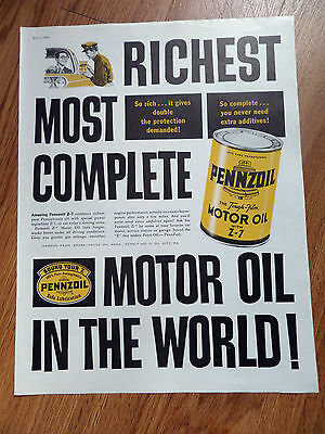 1960 Pennzoil Ad Richest Most Complete Motor Oil in The World