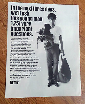 1967 Army Recruiting Ad Next 3 Days Ask this Young Man 1751 important Questions