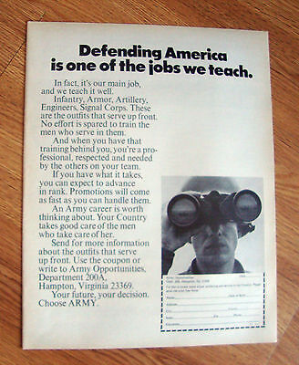 1971 Army Recruiting Ad Defending America is one of the Jobs we Teach