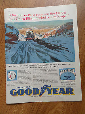 1959 Goodyear Tire Ad Red Ball Motor Freight Dallas TX Our Raton Pass Runs