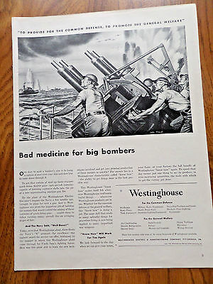 1942 Westinghouse Ad WW II Anti-Aircraft Batteries