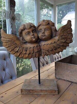 Santo Carved Wood Double Angels