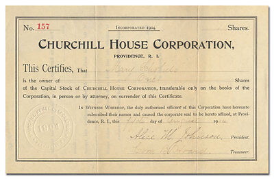Churchill House Corporation Stock Certificate Signed by Alice Johnson