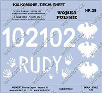 1:16 - DECALS - Polish Army - T-34/85 - Famous RUDY 102 tank - 1 Tank Brigade