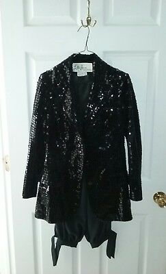 Lilli Ann San Francisco size 10 Womens suit blazer pants black sequined VINTAGE