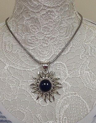 silver 925 Mexican Sun with blue stone Pendant