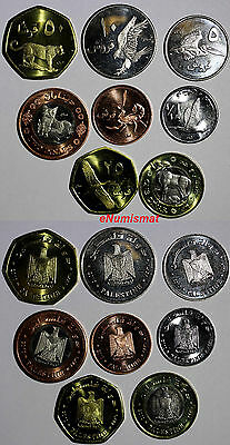 Palestine 2010 SET of 8 COINS, Fauna, Animals, Wildlife  BU Condition .