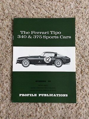 1960s Ferrari  Tipo 340 and 375 sports cars  by profile Publications booklet
