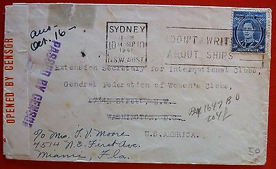 Australia 1941 Air Mailed Censored Cover to USA from  Sydney,NSW - One stamp