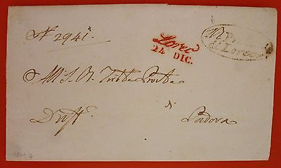 "Italy 1849 Prephilatelic Letter from Loreo to Padova  - Loreo ""Italic"" in red"