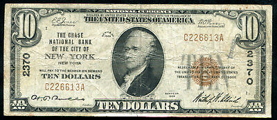 1929 $10 The Chase Nb Of The City Of New York, Ny Charter #2370