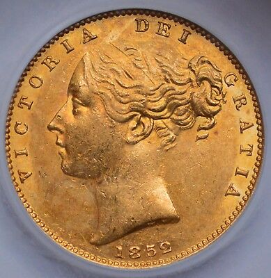 NICE LUSTROUS 1852 Queen Victoria Young Head Gold Shield Sovereign - NO RESERVE