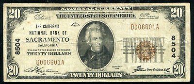 1929 $20 The California Nb Of Sacramento, Ca National Currency Ch. #8504