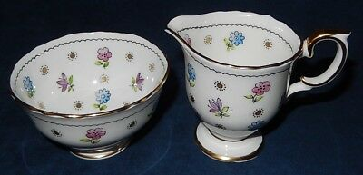 Vintage Crown Staffordshire ~ № A16100 ~ Floral Mini Creamer & Open Sugar Bowl