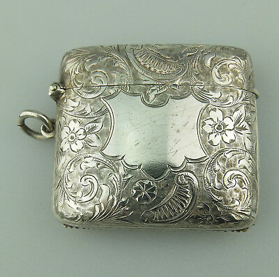 Antique Solid Silver : A good gilt interior engraved Match / Vesta Case C.1901