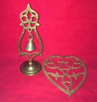 Vintage Brass Heart Shaped Trivet and Bell