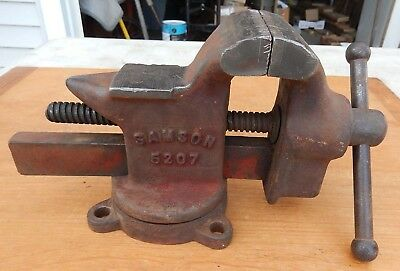 """Vintage SAMSON 5207 USA 3"""" Jaws Vise with Swivel base and Anvil - Heavy - 14LBS!"""