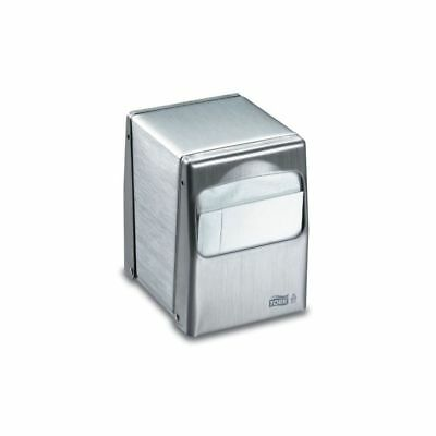 SCA Tork Table Top Napkin Dispenser, Low, Brushed Steel, 1 Each