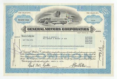 1978 General Motors Corporation Stock Certificate