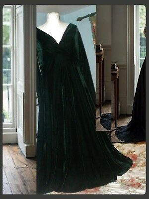 laura ashley velvet dress 16/vintage bottle green full sweep /1980/