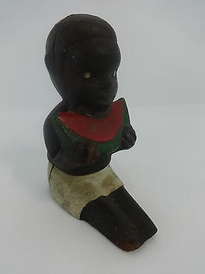 Cast Iron Black Americana Boy Earing Watermelon Coin Penny Bank