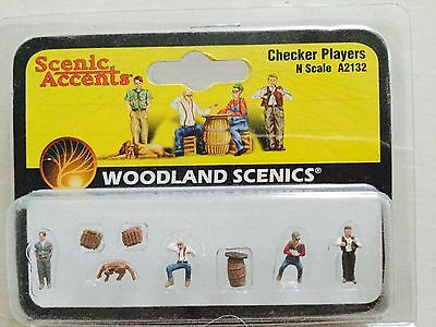 Woodland Scenics Accents 1/160 N Scale Checker Players # A2132 Factory Sealed