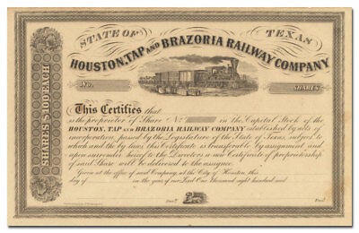 Houston, Tap and Brazoria Railway Company Stock Certificate