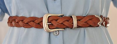 Merona Brown Braided Leather Belt Size 36, Men, Women, Unisex