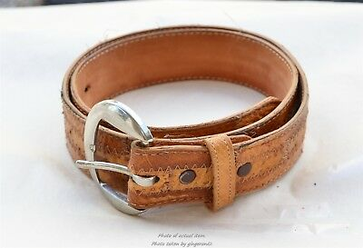 Vintage Ostrich & Leather Patchwork Brown Tony Lama Belt Size 31