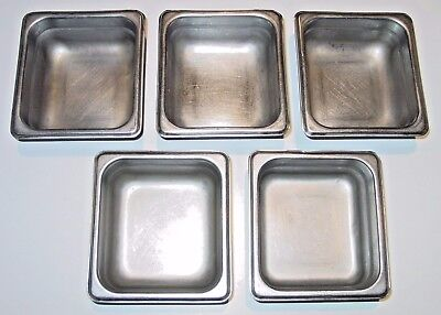 1/6 Stainless Steel pans - SS - 2 1/2 inch deep - Lot of 5 pans / free shipping