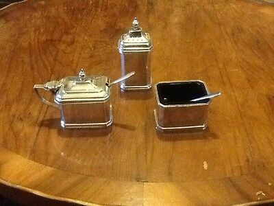 Vintage Silver Plate Cruet Set 3 Piece With Liners