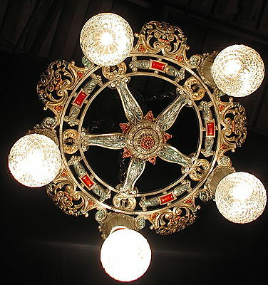 Antique Deco Riddle Victorian Cast Metal Chandelier Ceiling Light Fixture 20's