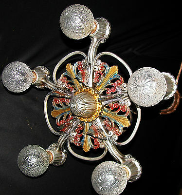 Antique Art Deco Victorian Cast Metal Chandelier Ceiling Light Fixture 20's