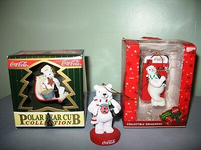 Lot Of 3 Collectible Coca-Cola Bear Christmas Ornaments-Two  In Original Boxes!