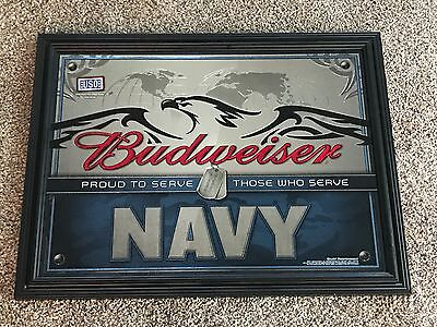New Budweiser Beer Us Navy Mirror Sign Proud To Serve Those Who Serve Usn