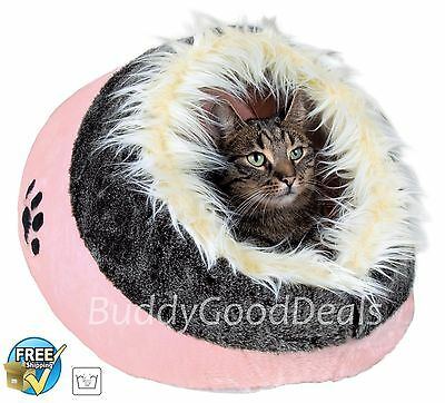 Warm Cosy Faux Fur Igloo Cave Bed by Trixie 36301 - for Cats - Rose