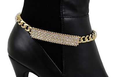 Women Western Boot Anklet Gold Chain Mesh Metal Western Shoe Bling Wide Charm