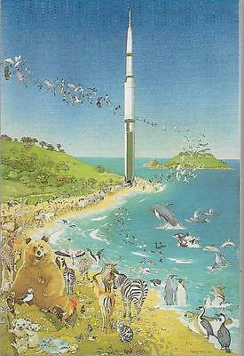 Herm, Channel Isles - 'Nuclear Ark' by local artist (with Jethou) - postcard