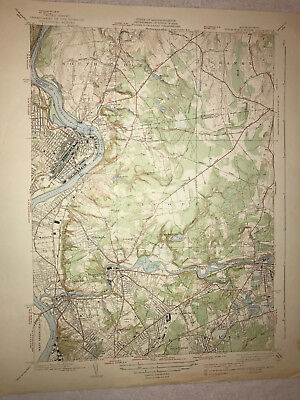 Vintage 1938 Topographical Map of Springfield North - Chicopee Ma Massachusetts